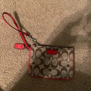 Beige and Red Coach Wristlet